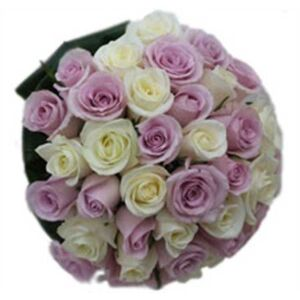Bridal White and Lilac Roses bouquet